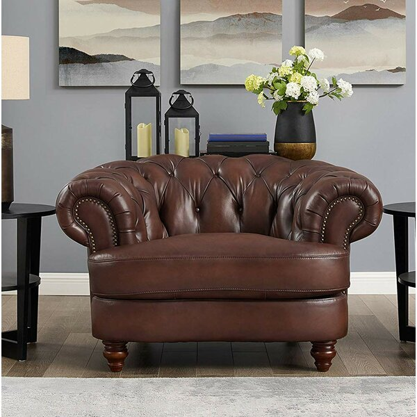 Basso 100% Leather Chesterfield Chair by Alcott Hill Alcott Hill